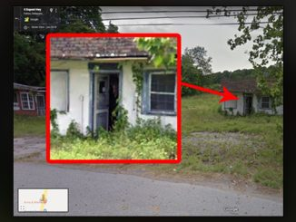 A scary picture on Google Maps of a witch in a shack on the side of the road