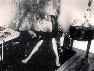 A black and white photo of spontaneous human combustion