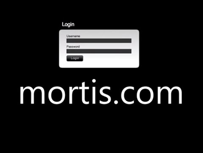 Login in screen for Mortis.com one of the Internet's biggest mysteries