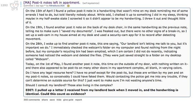Mysterious post-it-note appears for Reddit user suffering from Carbon monoxide poisoning