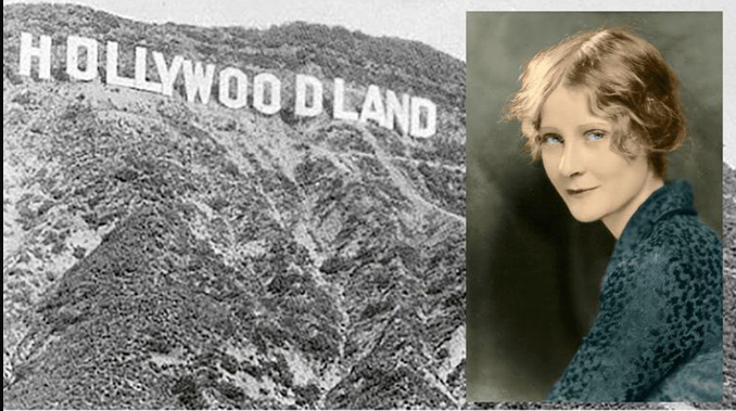 Peg Entwistle and the Hollywoodland sign.