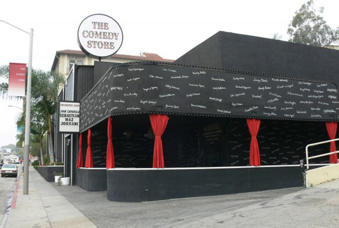 Outside shot of The Comedy Store, LA. It's allegedly haunted.
