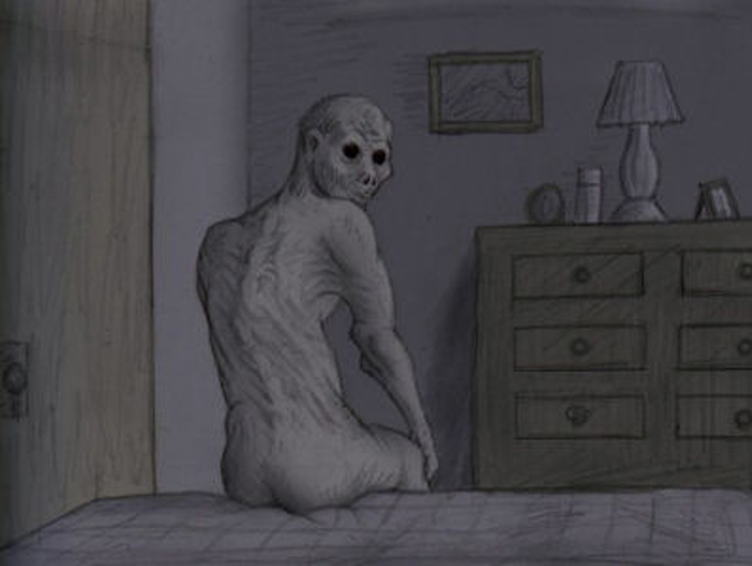 Illustration of The Rake sitting eerily on bed