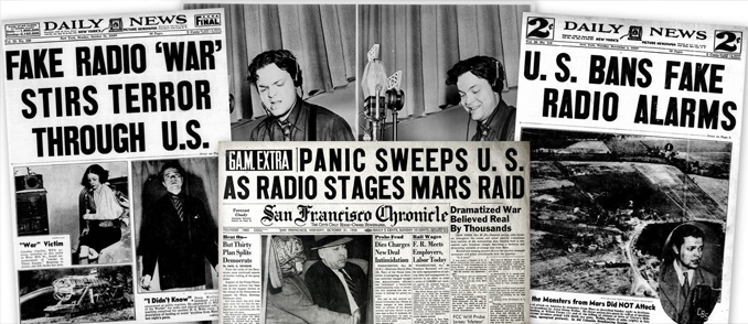 War of the Worlds Newspaper clippings from one of the most famous false alarms in history.