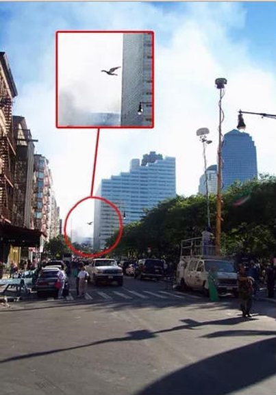 Sighting of the Mothman in front of the World Trade Centre 9/11