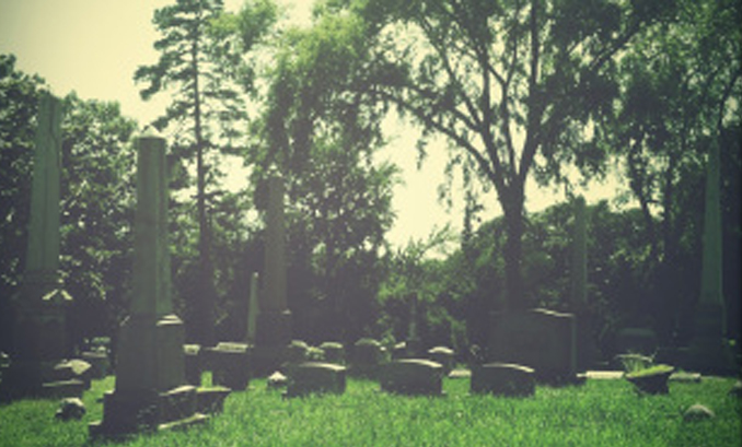 An old photo of a cemetery