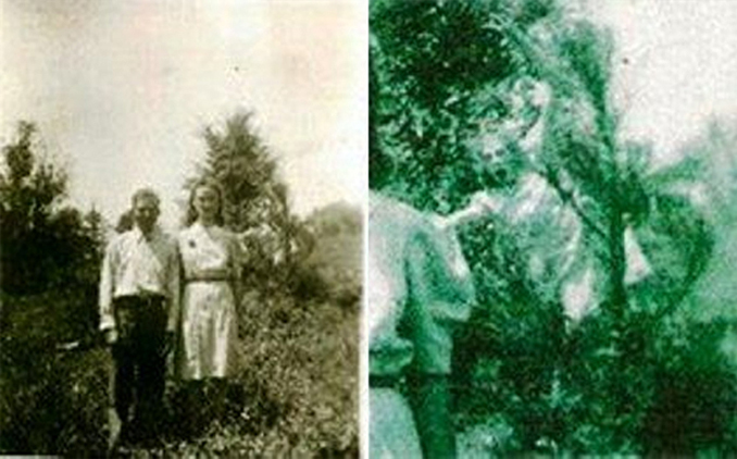 This old photo appears to show a ghost hanging out of a tree