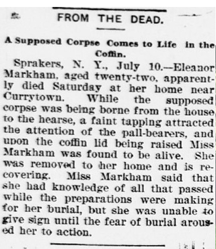 Newspaper clipping of Eleanor Markham, one of many people who woke up in their grave