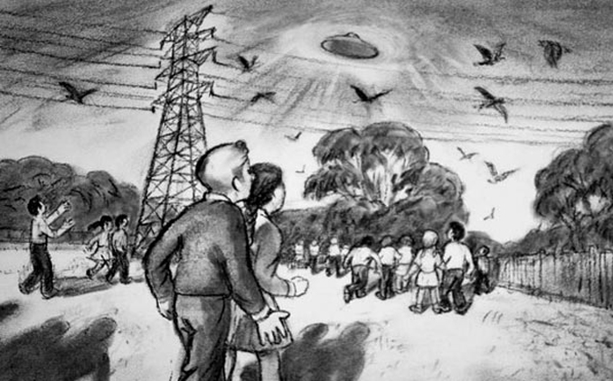 Sketch Images of Westall UFO Encounter by Les Whitmore