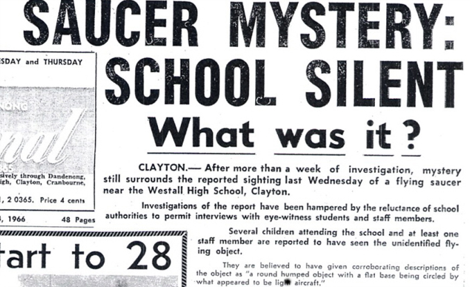 Newspaper clipping of Westall alien mystery