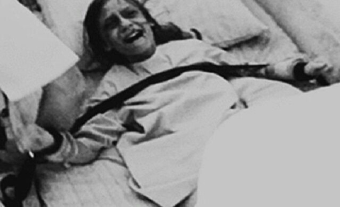 A black and white photo of the exorcism of Clara Germana