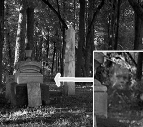 Scary pictures of a ghost boy in cemetery