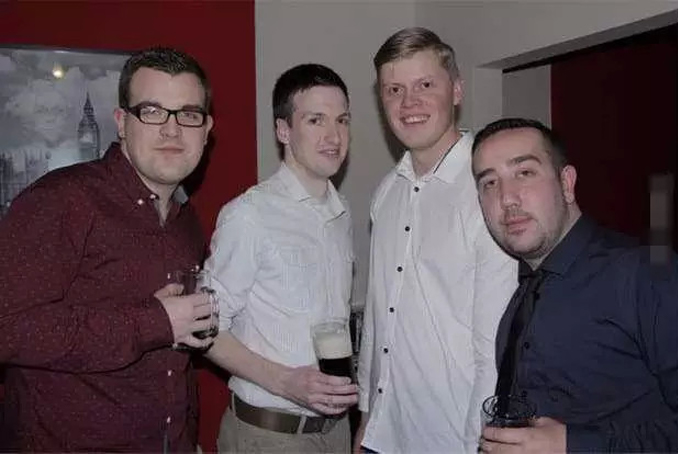 scary picture of four men with eerie face appearing in the painting behind