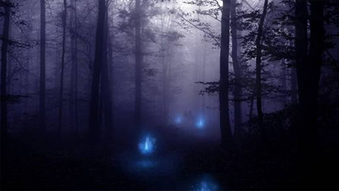 An artists depiction of 'chir batti', or ghost lights.
