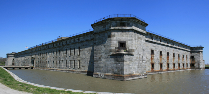 The moat of Fort Delaware.