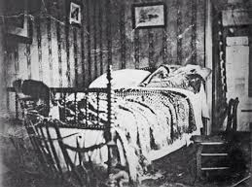 A black and white photo of the Atlas Vampire crime scene. One of many paranormal mysteries.