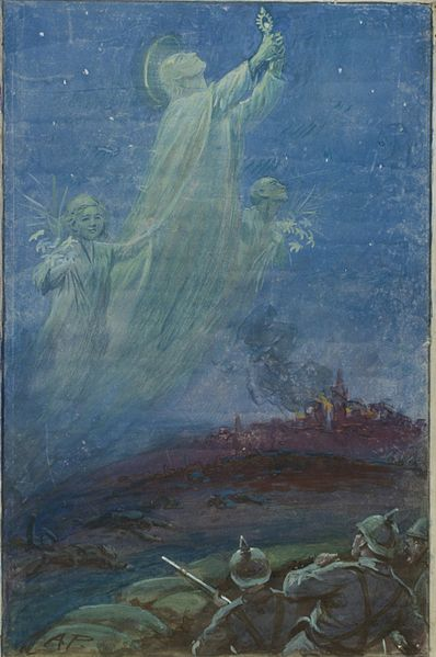 A painting by Alfred Pearse depicting the Angels of Mons, one of many wartime mysteries.