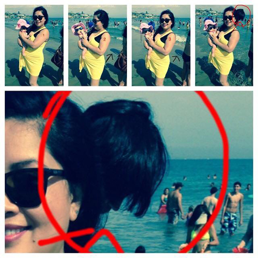 A scary photo of a disembodied head floating behind a woman at the beach.