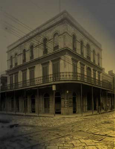 Black and White Photo of LaLaurie Mansion, New Orleans.