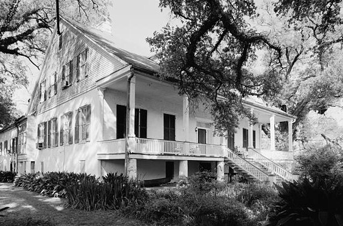 Black and white photo of Magnolia Plantation, Louisiana