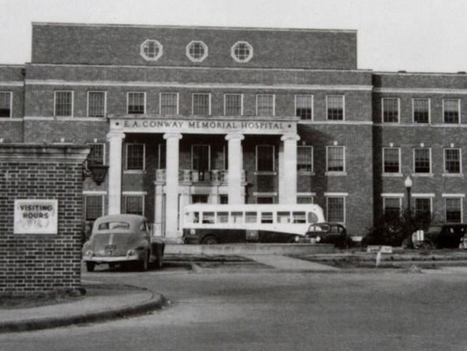 Black and white photo of Old EA Conway Memorial Hospital.