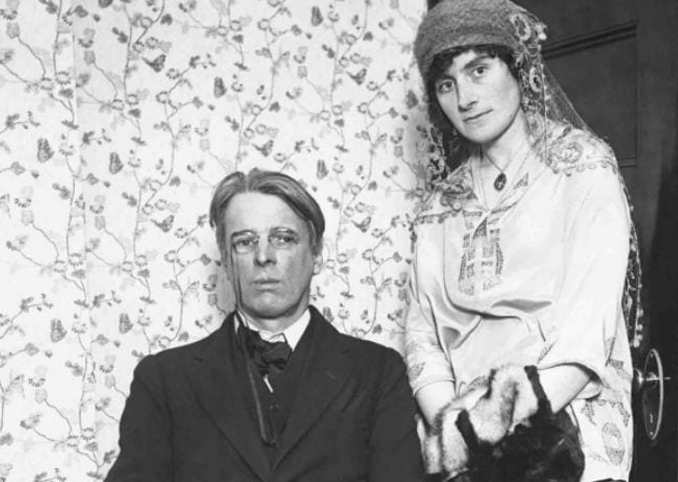 Black and white photo of W. B. Yeats and Georgie Hyde Lees. The couple were known to hold infamous seances.