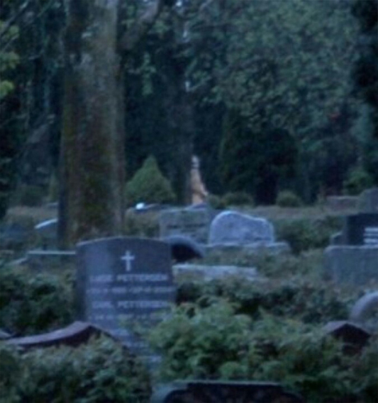 A strange figure photographed at a cemetery.