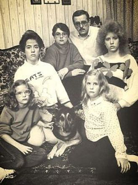 A black and white photo of the Smurl Family, one of Ed and Lorraine Warren's most famous cases.