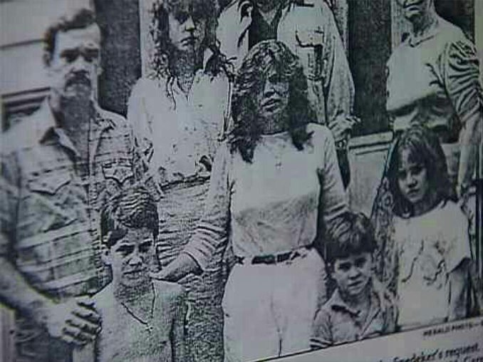 Black and white photo of the Snedeker Family, one of Ed and Lorraine Warren's most famous cases.