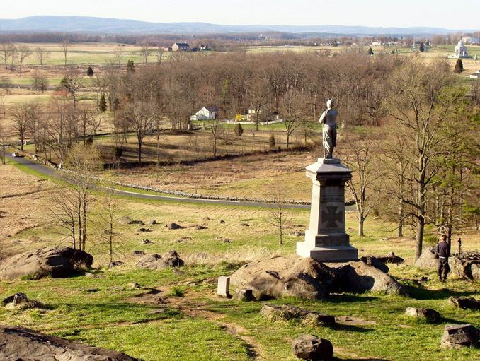 Scenic shot of Gettysburg battlefield, one of the most haunted cities in the world.