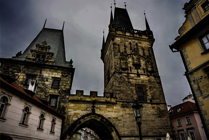 A night shot of old castle in Prague