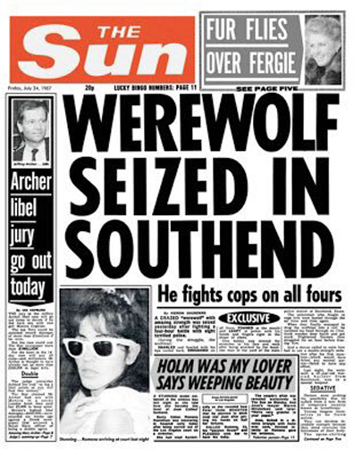 Werewolf Seized in Southend, Newspaper clipping