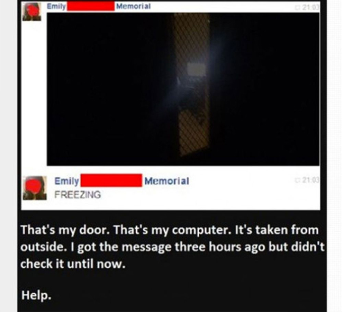 Screen captures of a Facebook haunting
