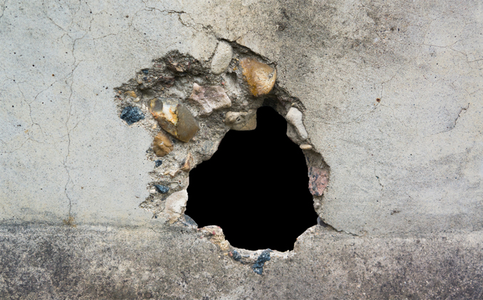 Hole in wall.