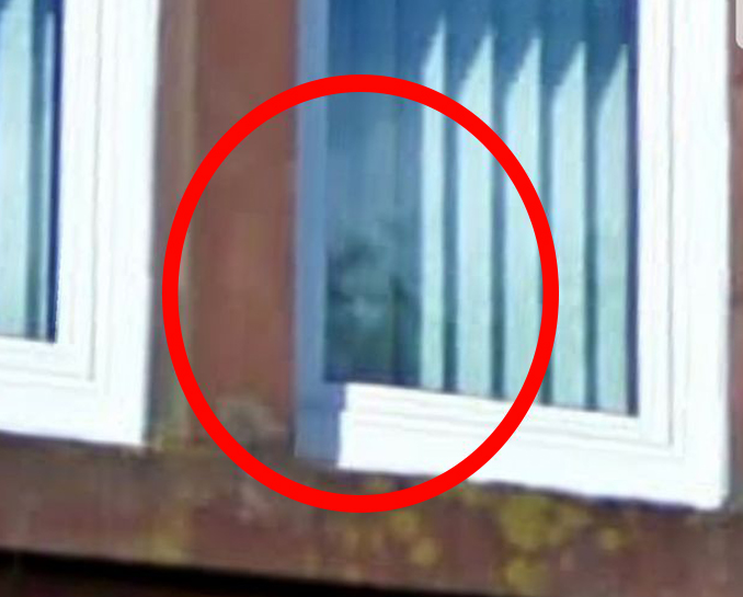 Close up of the ghost in the window on Google Street View.