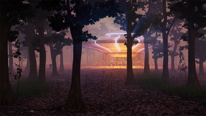 Drawing of massive alien ship landing in forest clearing