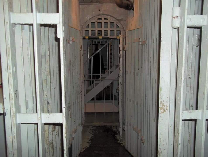 Scary Ghost photo sent in by Slapped Ham viewer John R. A shadow figure at Squirrel Cage Jail, Iowa