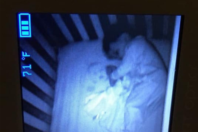 Scary ghost baby seen on baby monitor, turns out to be mattress