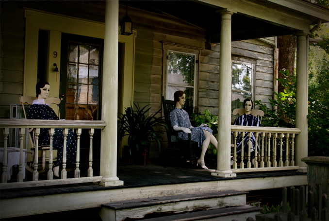 Mannequins on the porch of the John Lawson House
