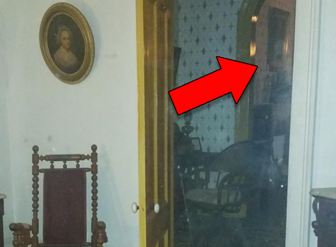 Close up ghost photo captured at the Whaley House in San Diego, California.