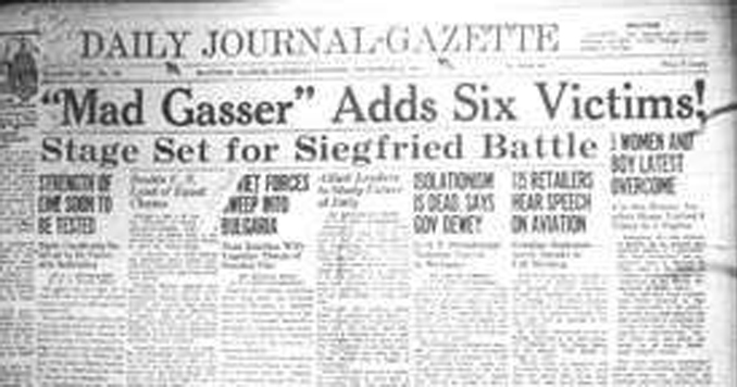 Old newspaper showing headline 'mad gasser of Mattoon'.
