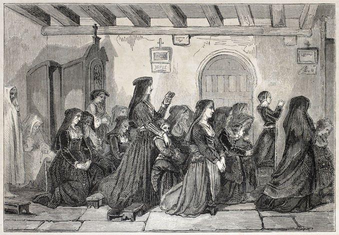 Sketch of the meowing nuns, an example of mass hysteria.