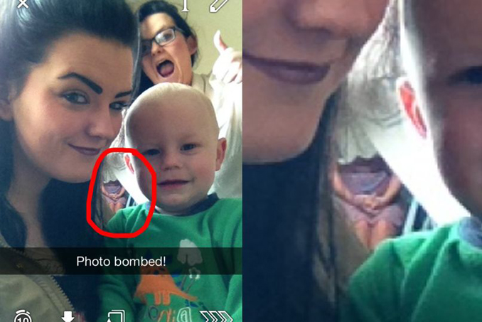 Irish Snapchat shows ghost in background.