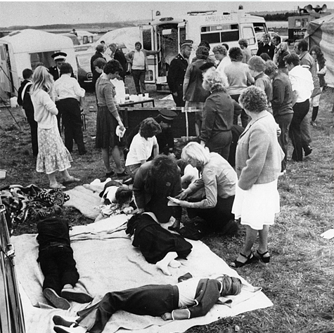 Black and white photo of the Hollinwell incident, an example of mass hysteria.