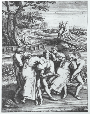 An black and white sketch of the Dancing Plague, one of many examples of mass hysteria